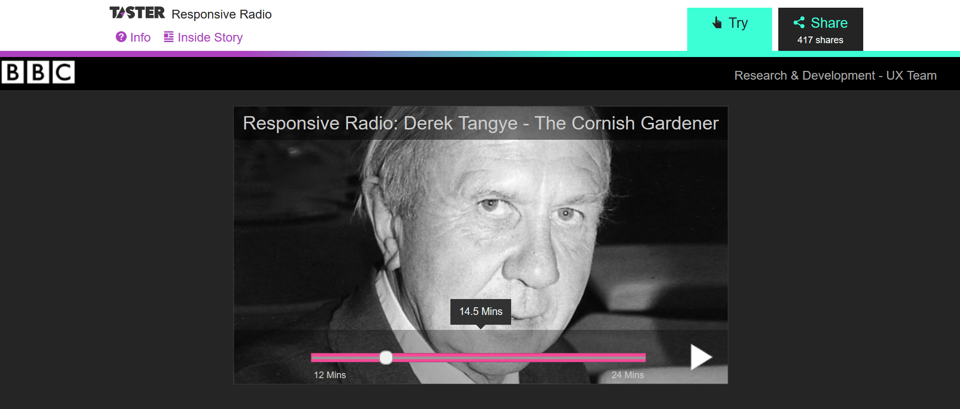 Screenshot BBC Taster / Responsive Radio