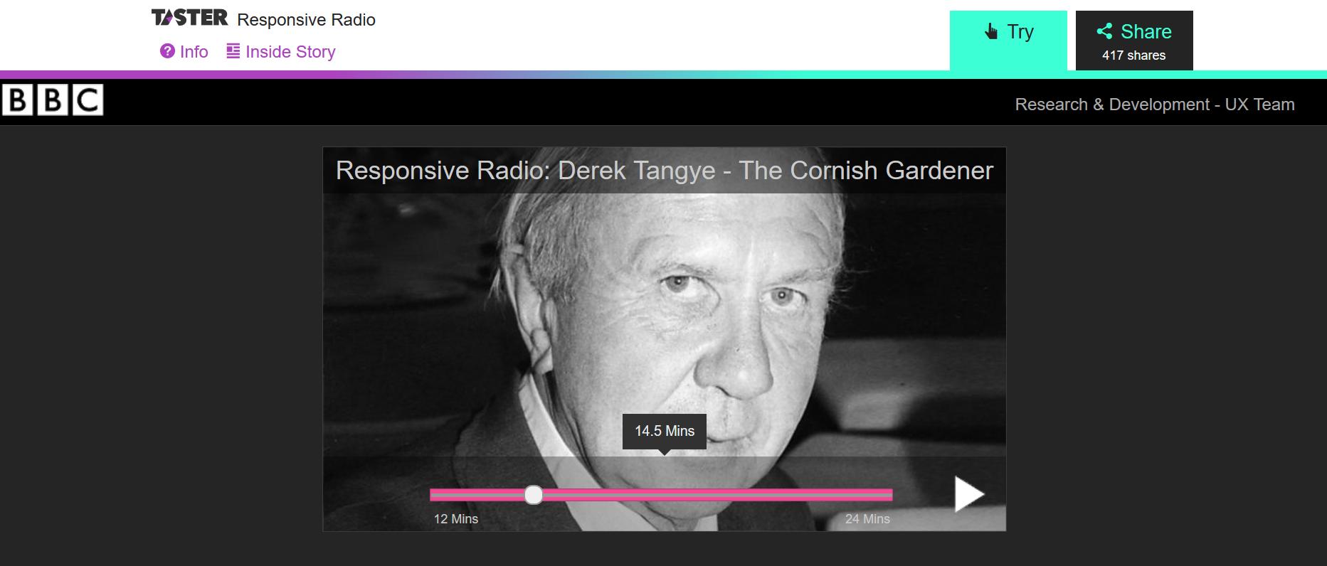 Screenshot BBC Taster / Responsive Radio