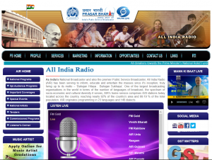 Das Onlineangebot von All India Radio.