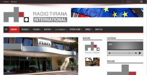Screenshot der Website von Radio Tirana International.